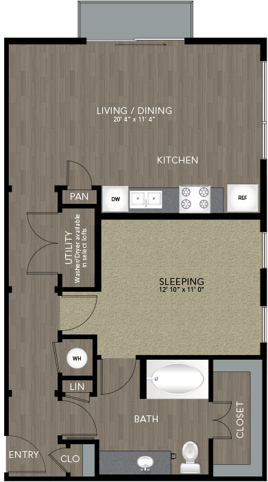 763 sq. ft. Jefferson floor plan