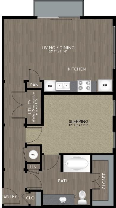 763 sq. ft. Jefferson floor plan