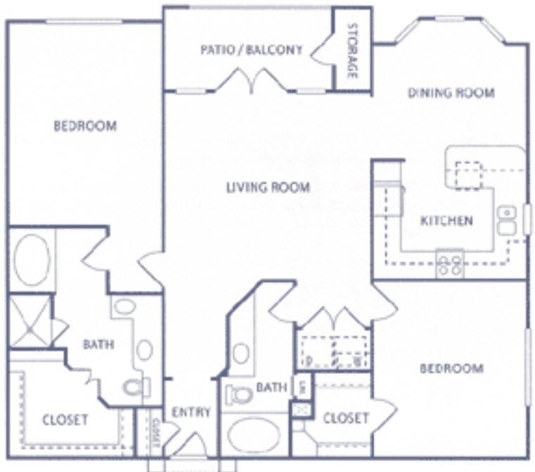 1,390 sq. ft. B2a floor plan
