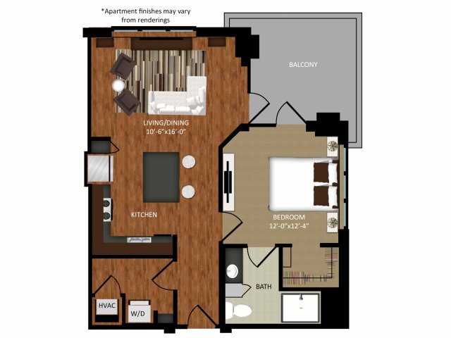 789 sq. ft. A5 floor plan