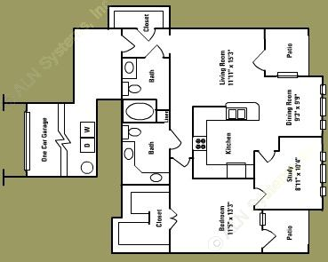 1,090 sq. ft. C3* floor plan