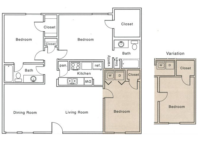 1,227 sq. ft. I2 floor plan