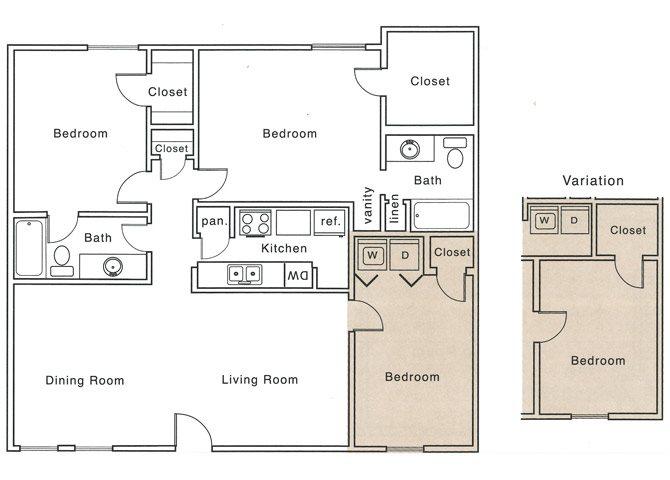 1,227 sq. ft. I2 floor plan