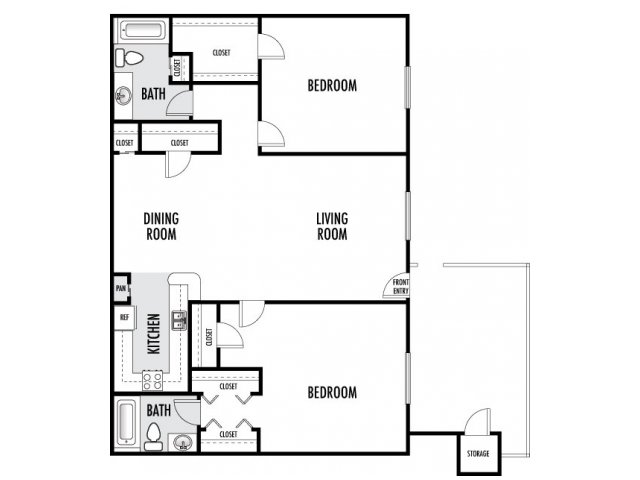 956 sq. ft. floor plan