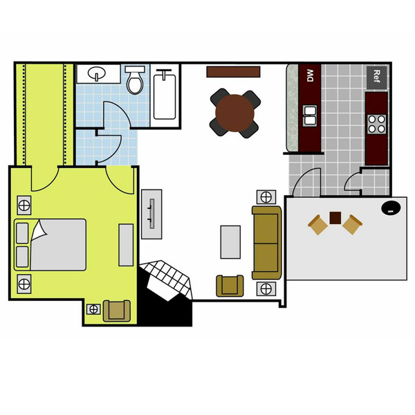 681 sq. ft. Huntington floor plan
