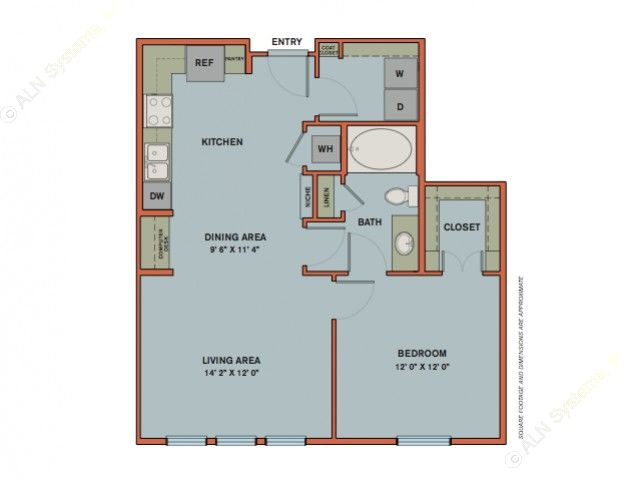 752 sq. ft. A7 floor plan