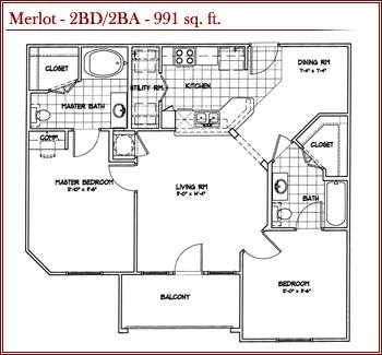 991 sq. ft. MERLOT floor plan