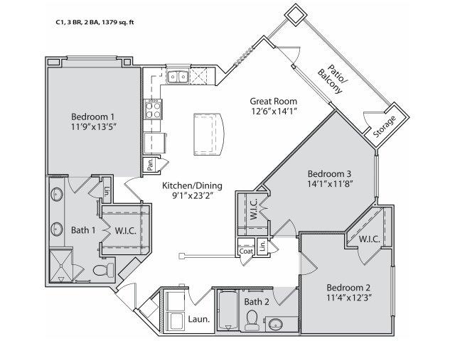 1,280 sq. ft. C1 floor plan