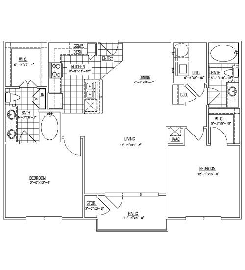 1,145 sq. ft. B1 floor plan