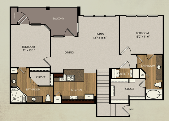 1,260 sq. ft. B3b floor plan