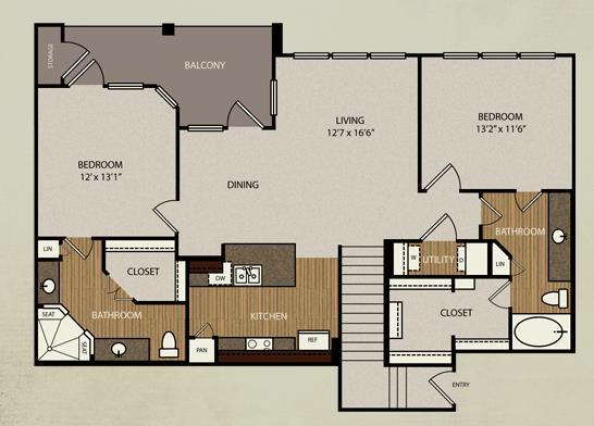 1,260 sq. ft. B3b floor plan
