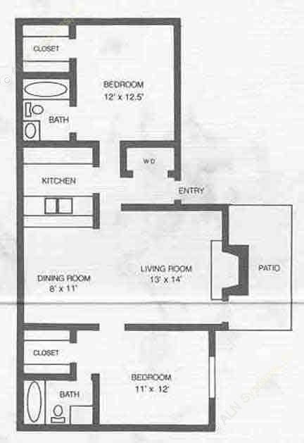 910 sq. ft. B3 floor plan