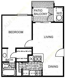 564 sq. ft. A2 floor plan