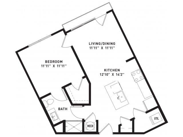 665 sq. ft. A3 floor plan