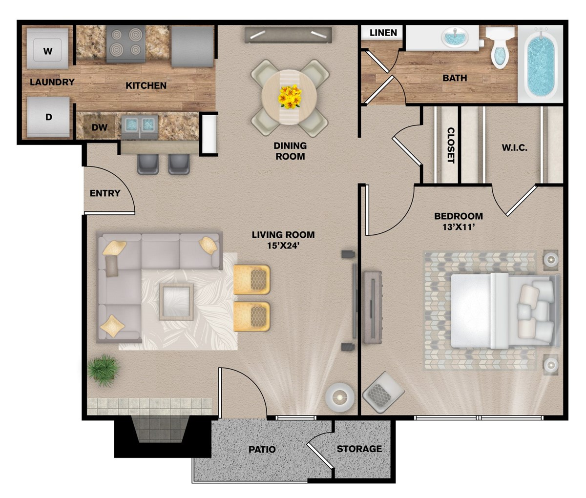 733 sq. ft. A-2 floor plan