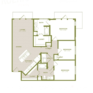 1,289 sq. ft. C3 floor plan