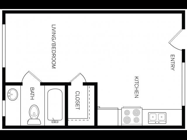 384 sq. ft. floor plan