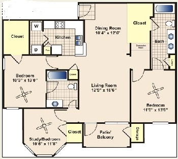 1,309 sq. ft. C2 floor plan