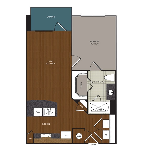 593 sq. ft. to 630 sq. ft. A1 floor plan