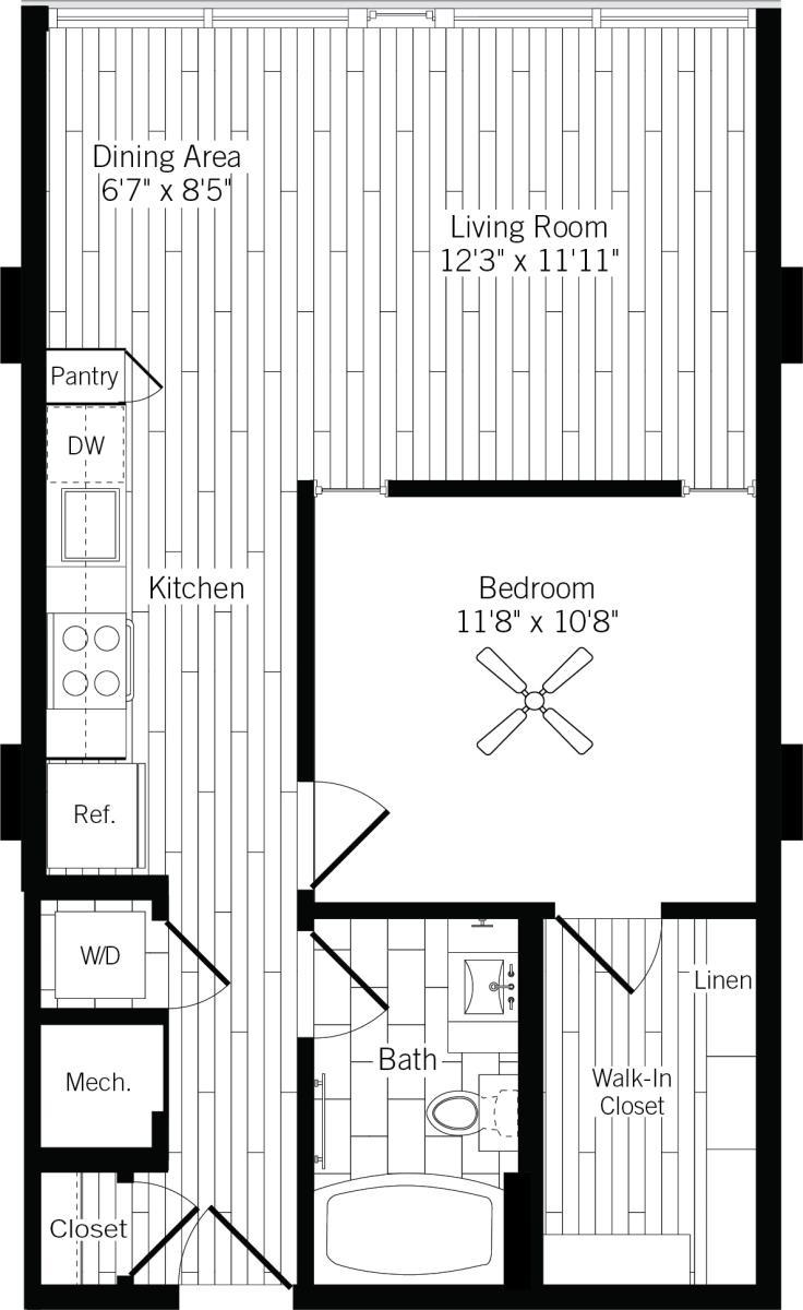 686 sq. ft. 1B-L floor plan