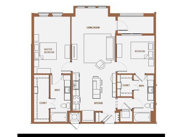 1,128 sq. ft. B1-3 floor plan