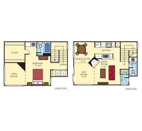 1,001 sq. ft. A4 floor plan