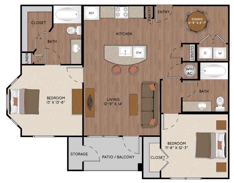 1,085 sq. ft. B3 floor plan