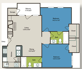 988 sq. ft. 2a w/Carport floor plan