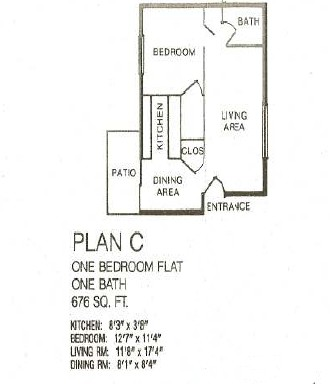 676 sq. ft. floor plan