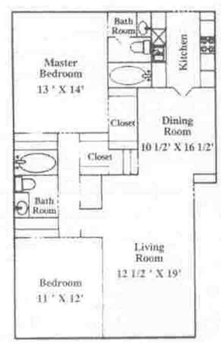 969 sq. ft. B-2 floor plan