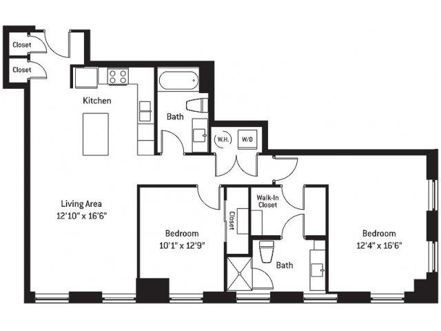 1,176 sq. ft. FA floor plan