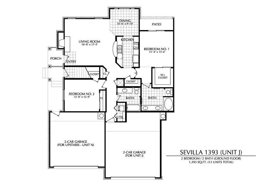 1,393 sq. ft. J floor plan