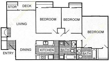 1,258 sq. ft. floor plan