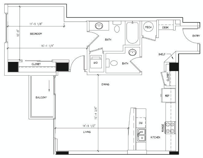 846 sq. ft. MONET floor plan