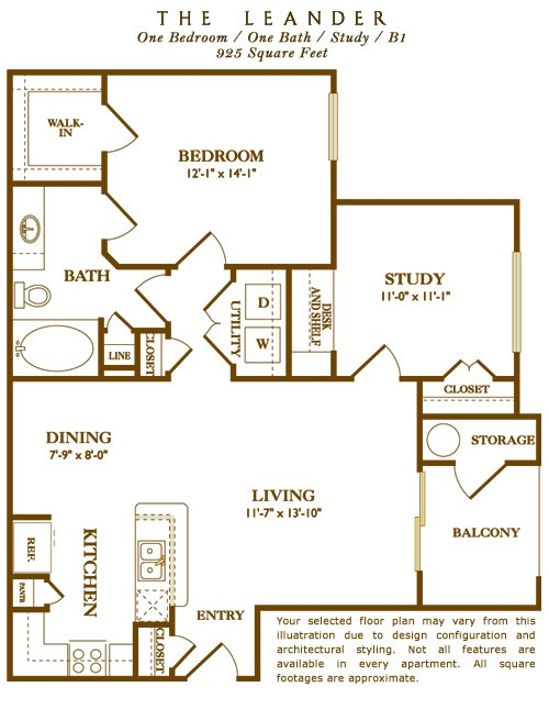 925 sq. ft. Leander floor plan