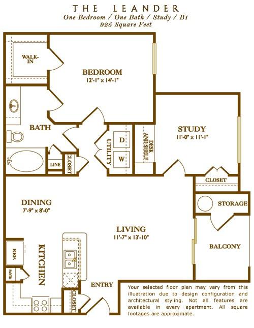 925 sq. ft. Leander floor plan