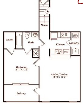 809 sq. ft. A20G floor plan