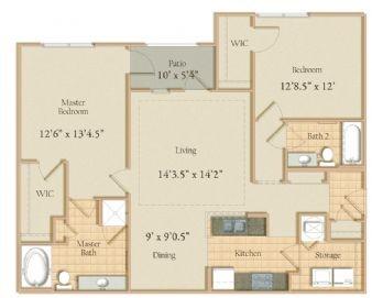 1,246 sq. ft. floor plan