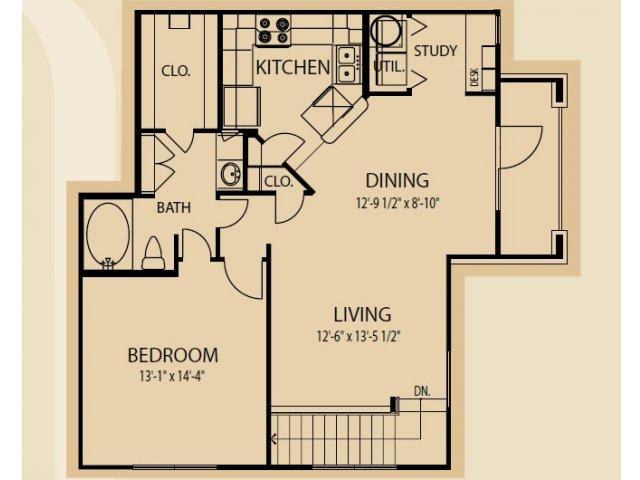 943 sq. ft. A11 floor plan