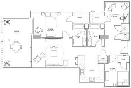 1,632 sq. ft. D floor plan