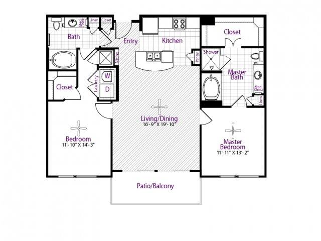 1,202 sq. ft. floor plan