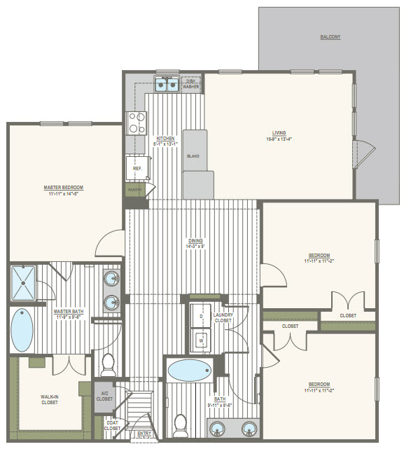 1,460 sq. ft. C1 floor plan
