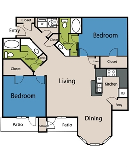 1,275 sq. ft. B2 floor plan