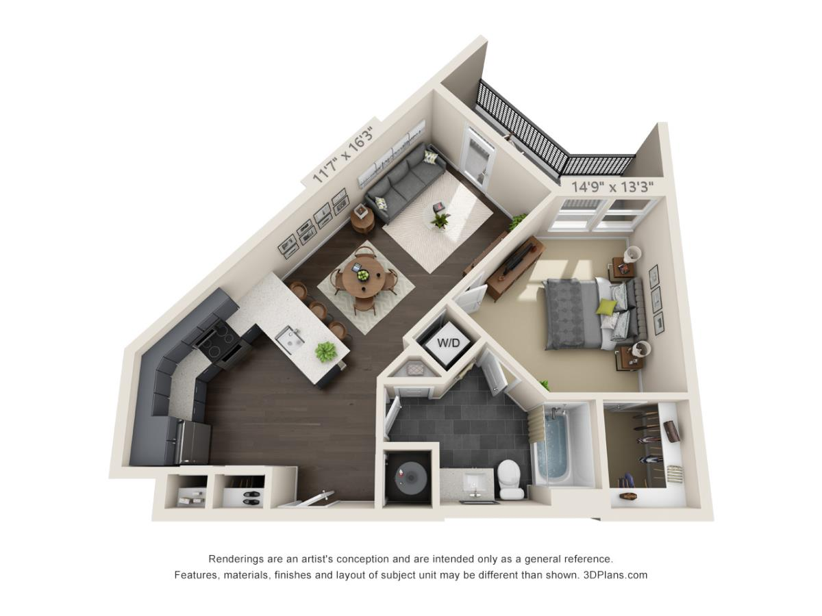 706 sq. ft. A2B floor plan
