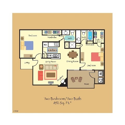 892 sq. ft. B5 floor plan