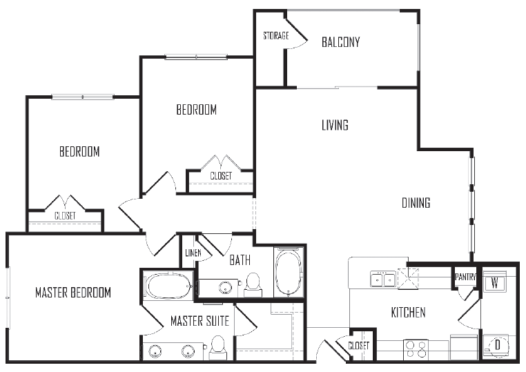 1,291 sq. ft. C1 floor plan