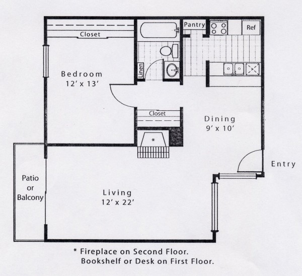 727 sq. ft. A4FP floor plan