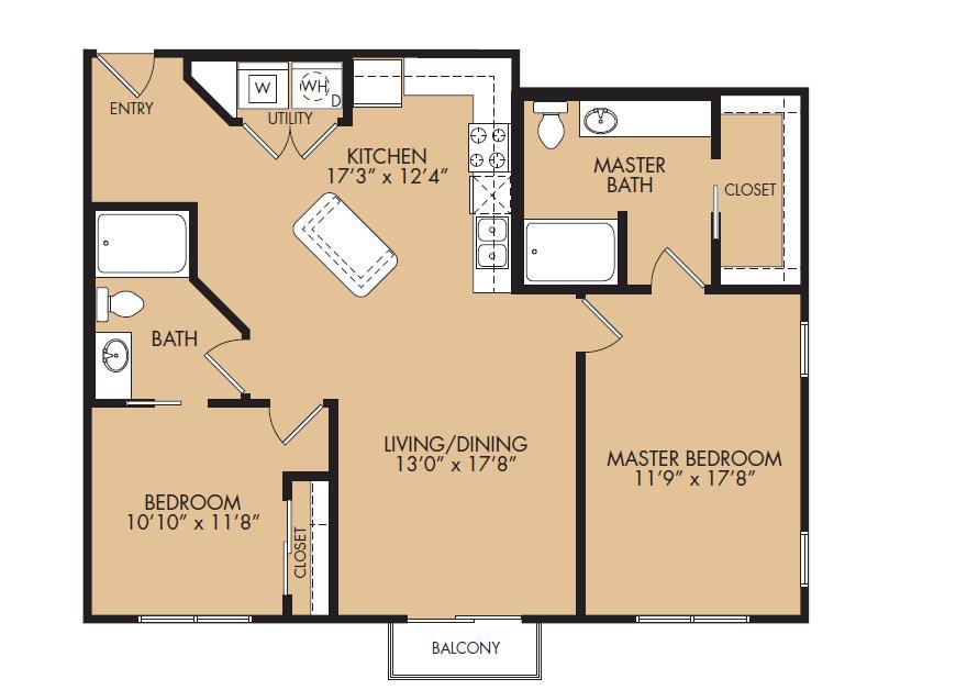 1,109 sq. ft. B2L-Benchmark floor plan