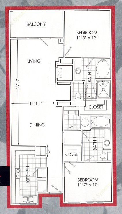 1,194 sq. ft. Lakeside B1 floor plan
