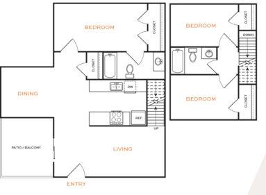 1,135 sq. ft. Ph II floor plan